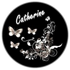 GREY/BLACK BUTTERFLY & FLOWER PERSONALISED CAR TAX DISC HOLDER - NAME REUSABLE