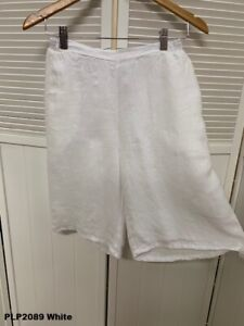 PLP2089 White Large NWT Pure Match Point Linen Shorts Pockets Petite