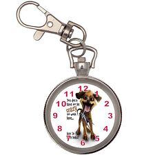 Crazy Dog Silver Key Ring Chain Pocket Watch