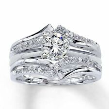 Wrap Ring 14K White Gold Finish 0.27 Ct Round-Diamond Solitaire Enhancer Guard