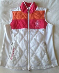 Daily Sports Women's Medium White Quilted Full Zip Activewear Golf Team Vest EUC