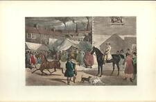 Stampa antica FIERA DI CAVALLI nella CAMPAGNA INGLESE 1914 Old antique print