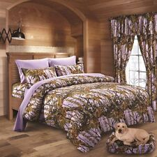 22 PC LAVENDER CAMO COMFORTER SHEET AND CURTAIN SET QUEEN  CAMOUFLAGE BEDDING