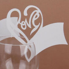 50 Ivory Wine Glass Place Name Cards Laser Cut Vintage Heart Wedding Decor