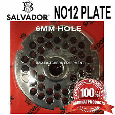 Salvador No12, 6mm Mincer Grinding Plate. Stainless Steel. 100% Genuine.