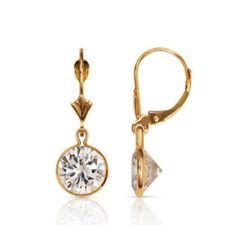 3 Carat Sapphire Bezel Set Round Leverback Dangle Earring 14K Solid Yellow Gold