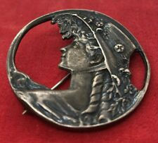 Vintage Sterling Silver Brooch Pin 925 Pendant Necklace Nouveau Face Ladies Hat