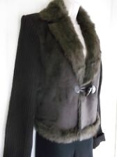 NEWPORT NEWS - Brown Faux Fur Lined Suede Knit Sleeves  Wrap Jacket -Size- M *