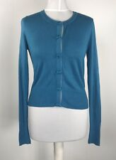 LOUCHE Teal Blue Thin Knit Cotton Cardigan UK 12 Bow Detail