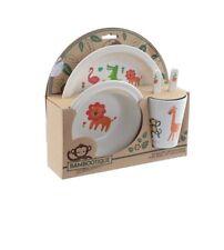 Puckator set couverts enfant 5 pièces en bamboo motif animaux jungle