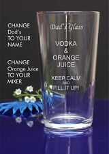 Personalised Engraved Pint mixer spirit VODKA AND ORANGE JUICE glass 5