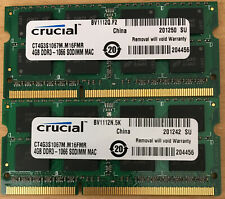 CT4G3S1067M 8GB 2x4GB kit 1066 MHz 8500S Crucial DDR3 RAM Memory MacBook Pro