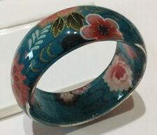 Vintage Style Blue Floral Bangle Inlaid Fabric Pink Red Clear Resin Wide Chunky