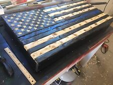 Thin Blue Line Gun Safe Hand-Carved Rustic American Wooden Flag Charred/Burnt