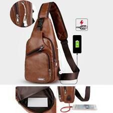 Men's Leather Chest Pack USB Charging Sling Bag Casual Backpack Crossbody Bag