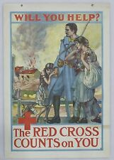 "Original World War I Vintage Red Cross War Fund Poster ""Soldier & Refugees"""