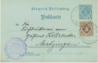 """WÜRTTEMBERG """"NEHREN / (WÜRTT.)"""" grosser K1 a. 2 Pf Kab.-GA-Dienstpostkarte m. dt"""