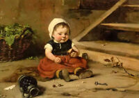 """Oil painting hugo oehmichen - childhood lovely and cute little girl seated 36"""""""