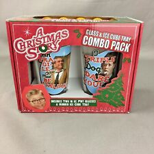 A Christmas Story Set of 2 Pint Glass Ice Cube Tray Combo NEW Leg Lamp Cup