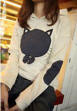 Brand New Korean Style Cartoon Cat Bow Hoddie Sweatshirt Blouse Shirt Top XS