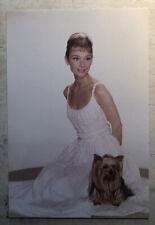 Movie Postcard ~ Audrey Hepburn pink dress w. dog