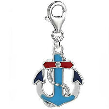 Enamel Blue Red Anchor Clip On Pendant for European Charm Jewelry w/ Lobster Cla