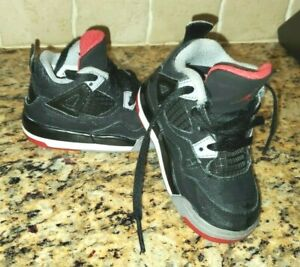 Air Jordan Retro Bred 4 Black Gray Red Toddler Boy's Shoes 6C 308500-089 2012