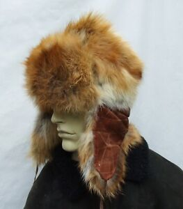 REAL RED FOX   Ushanka trapper  fur hat size:M 56 / 57cm