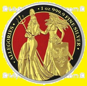 Germania 2019 5 Mark Germania Britannia Gilt Gold Red 1 oz Silver pop 50