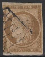 "FRANCE STAMP TIMBRE 1 b "" CERES 10c BISTRE-VERDATRE 1850 "" OBLITERE A VOIR  M437"