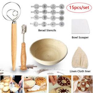 15x Bread Proofing Basket Set Banneton Baking Tool Dough Whisk Stencils Scraper