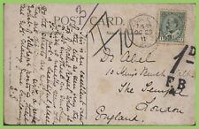 Canada 1911 1c on Montreal PPC, London Ontario to London U.K., postage due
