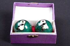 Baoding Balls Chinese Exercise Stress Balls with Case - Green with Panda