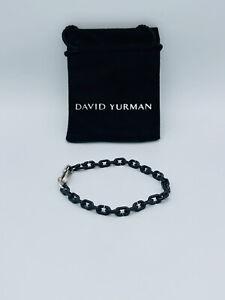 DAVID YURMAN Men's 6.3mm Links Chain Bracelet Silver Black Titanium