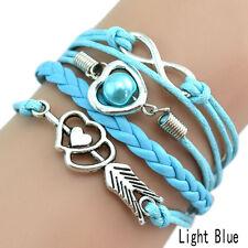 Infinity Love Heart Pearl Friendship Antique Silver Leather Charm Bracelet Hot N Light Blue