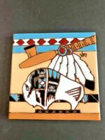 """Earth tone  """" Mighty Buffalo"""" 1995 Ceramic Tile ,Hot Plate Trivet Kitchen signed"""