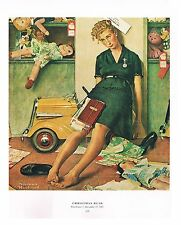 "Norman Rockwell print: ""CHRISTMAS RUSH"" 11x15"" retail store Black Friday sales"
