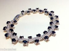 """NEW! 7½"""" Sterling Silver Natural Sapphire/CZ Bracelet 13.76 ct"""