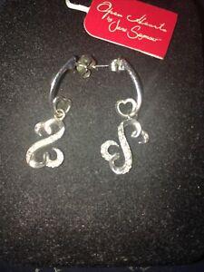 Jane Seymour Open Heart Earring Set 925 Sterling Silver Diamond Drop Post Kay