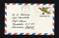 UXC16 21c Air Mail Postal Card USED to ENGLAND, Scott Cat. $40.00