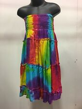 Tiered Boho Gypsy Dress/Skirt Bright Rainbow Tie Dyed For Ages 6-8yrs .