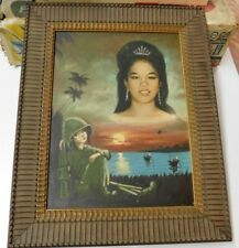 "Vintage Vietnam War Framed Souvenir Sweetheart Painting(16+1/4"" wide/20"" tall)"