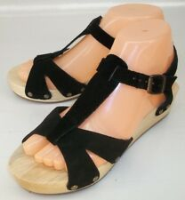 46009d63416 Kimchi Blue Wos Shoes US 6 Black Suede Wood Heel Ankle Strap Wedge Sandals  5917