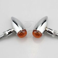 Mini Bullet Chrome Amber Motorcycle Turn Signal Cruiser Chopper Custom Light