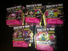 MONSTER HIGH MINIS with PET Set Of 5 In-Hand Drac Cleo Frankie Clawdeen Lagoona