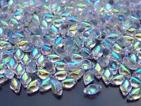 10g Czech GemDuo Twin Hole Beads 8x5mm Crystal AB