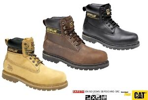 CAT Safety Work Boots Leather CATERPILLAR Holton Steel Toe Honey Black Brown