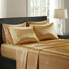 3 Pieces Satin Silky Gold  Sheet Set Queen/King Size Fitted Pillows 600TC