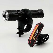 4 MODES Bicycle Headlight & Taillight 300 Lumen LED USB Recharge & Bike Odometer
