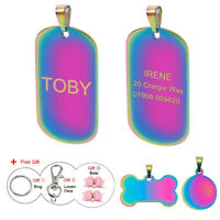 Rainbow Engraved Dog Tag Personalised Pet Puppy Cat ID Tags Military/Bone/Round